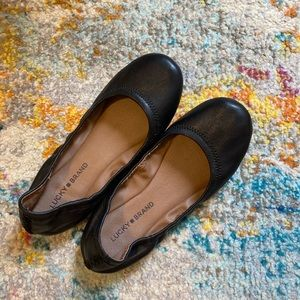 Lucky Brand 'Emmie' Leather Flats in Black